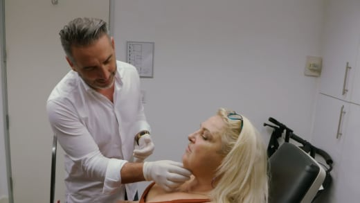 Angela Deem consults with facelift surgeon