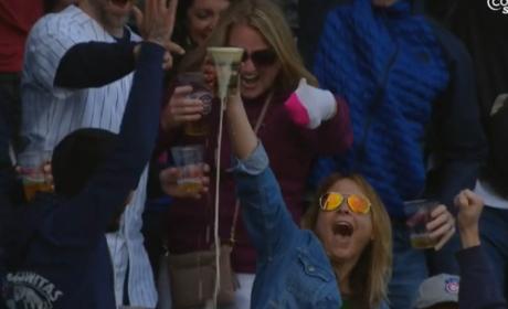 Cubs Fan Catch Foul Ball in Beer, CHUGS