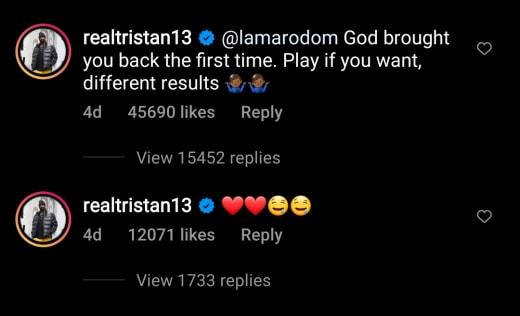 Tristan Thompson IG threatens Lamar Odom (dark mode)