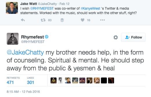 Rhymefest tweet about Kanye