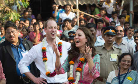 William and Kate Laugh During a Football Game in Mumbai