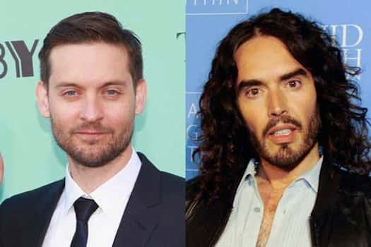 Tobey Maguire and Russell Brand