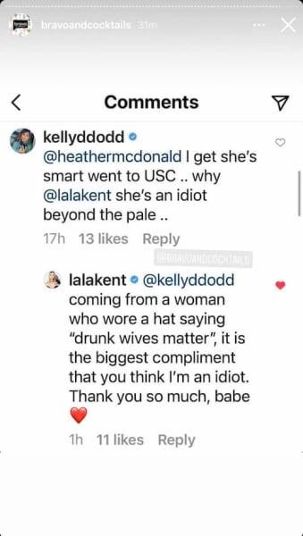 Kelly Dodd vs Lala Kent IG exchange