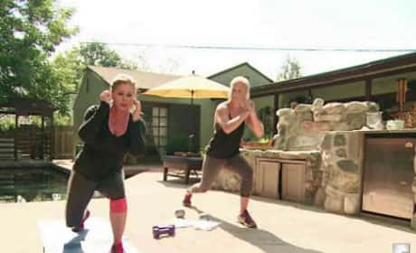Nicole Eggert Works Out with Breast Implants