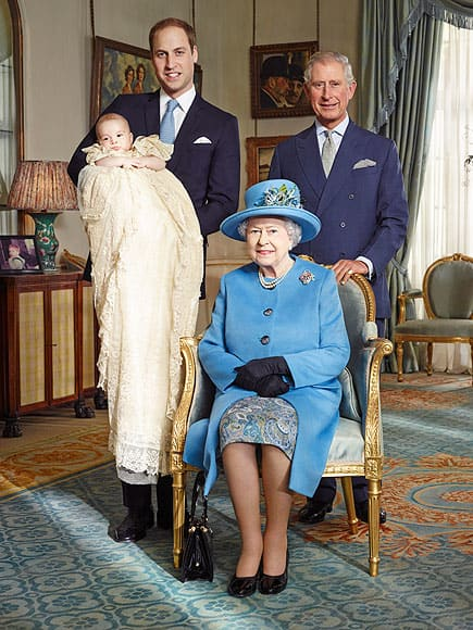 Queen Elizabeth, Prince George, Prince William and Prince Charles