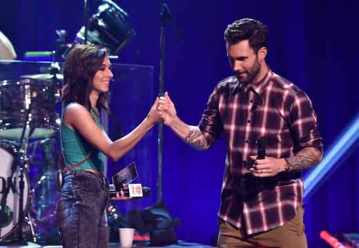Christina Grimmie and Adam Levine