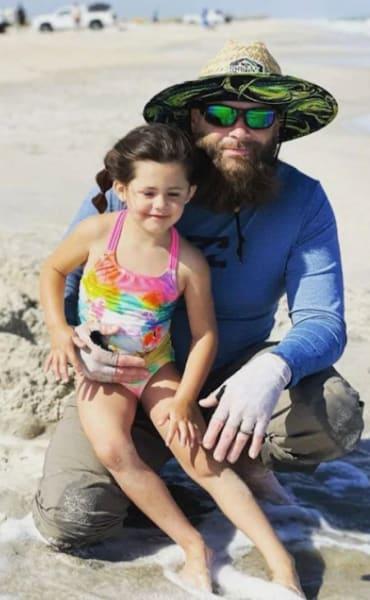 David Eason with Ensley. On the Beach.