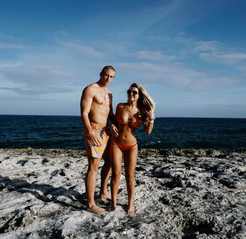 Brielle Biermann and Michael Kopech on the Beach
