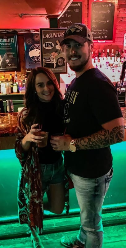 Leah and jeremy drinking