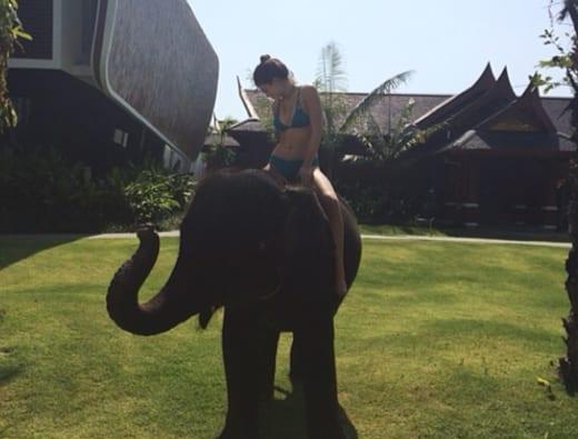Kylie Jenner on an Elephant