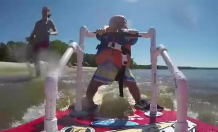 6-Month Old Actually Waterskis: Watch! React!