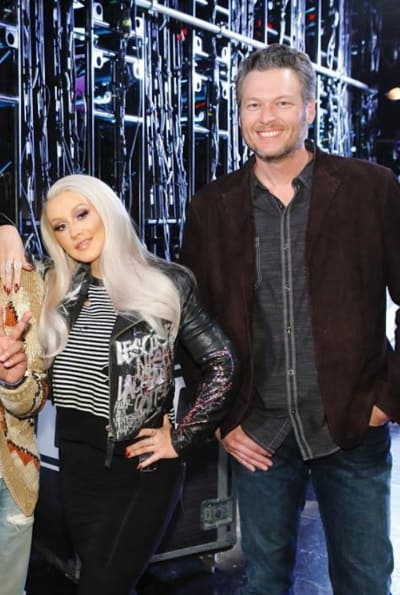 Christina Aguilera on Voice Set