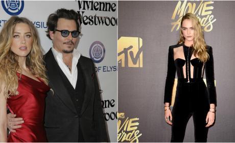 Amber Heard and Johnny Depp,  Cara Delevingne