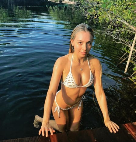 Corinne Olympios in a Bikini in a Pond