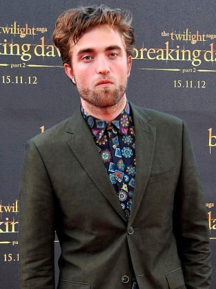 Unshaven Robert Pattinson