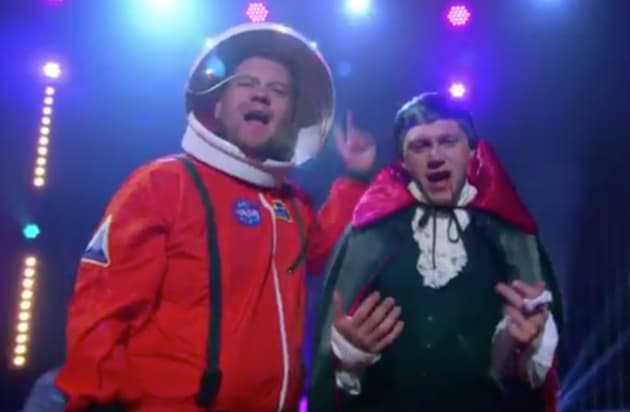 Niall Horan and James Corden in Costume
