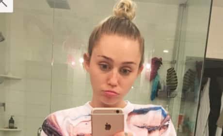 Unhappy Miley Cyrus