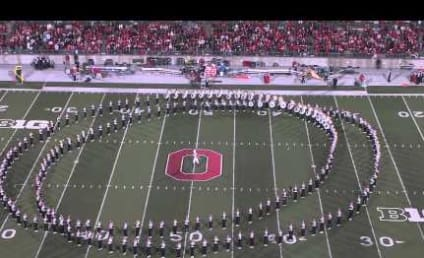 Ohio State University Marching Band Soars Across Field Like Superman