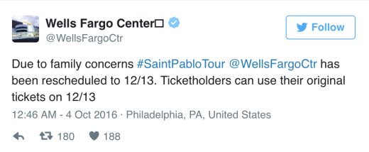 Wells Fargo Center Tweet