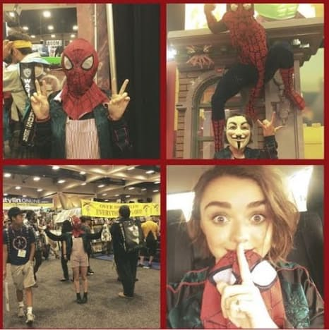 Image result for maisie williams comic con spiderman