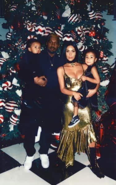Kanye West and Kim Kardashian on Christmas