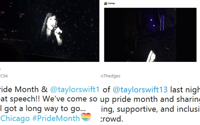 Taylor swift celebrates lgbt pride month on her reputation tour