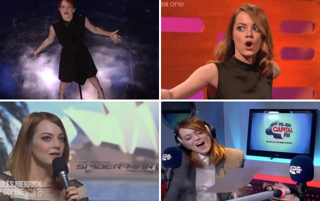 Emma stone lip syncs against jimmy fallon