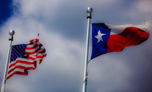 Texas and US Flags