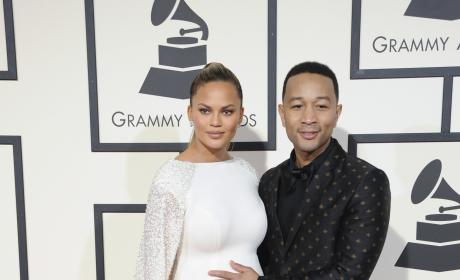 Chrissy Teigen and John Legend at the Grammys