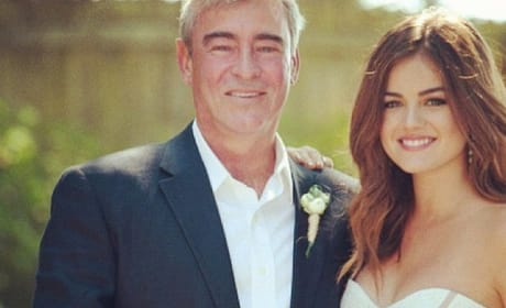 Lucy Hale Smiles with her Father