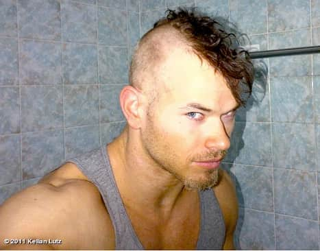 Kellan Lutz with a Mohawk