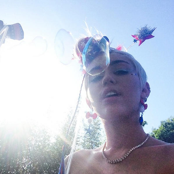 Miley Cyrus on July 4