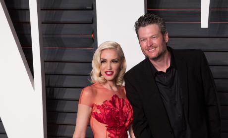 Gwen Stefani and Blake Shelton Hold Hands at Vanity Fair Oscar Party 2016