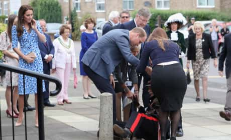 Prince William Helps Vice Lord Lieutenant Falls Over