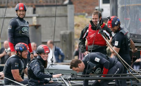 Kate Middleton Laughs While On Board The Land Rover BAR Team Catamaran