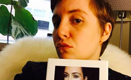 Lena Dunham Proudly Displays Copy of Kim Kardashian Selfie Book