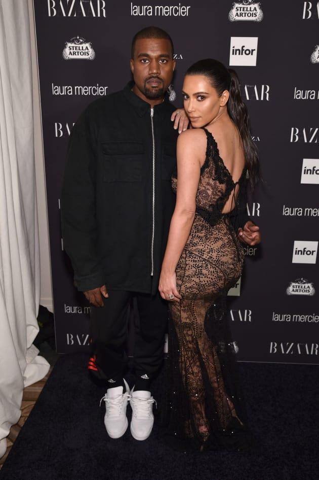 Kim Kardashian Kanye West Harper's Bazaar Party Fashion Week 2016