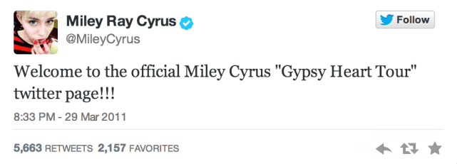 Miley's First Tweet