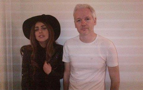 Lady Gaga and Julian Assange