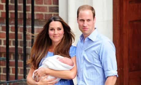 William, Kate and George Leave Hospital