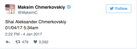 Maksim Chermovskiy Baby Tweet