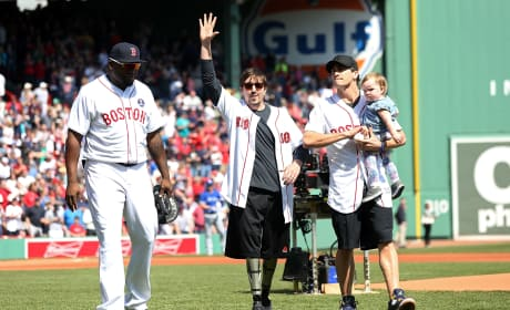 Jake Gyllenhaal & Jeff Bauman Throw Out First Pitch at Red Sox Game