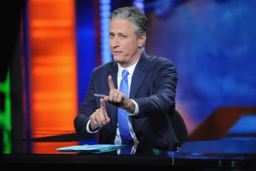 Jon Stewart at His Desk