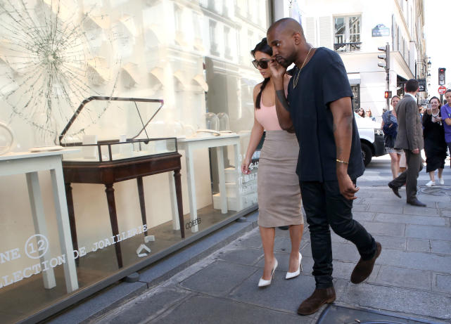 Kanye with Kim in Paris
