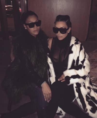 Kim Kardashian and friend at New York Fashion Week