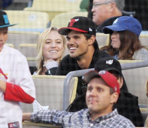 Taylor Lautner at Baseball Game