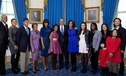 Obama Family Photo: Extended, Slightly Awkward!