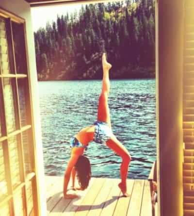 Nina Dobrev Bikini Yoga Photo