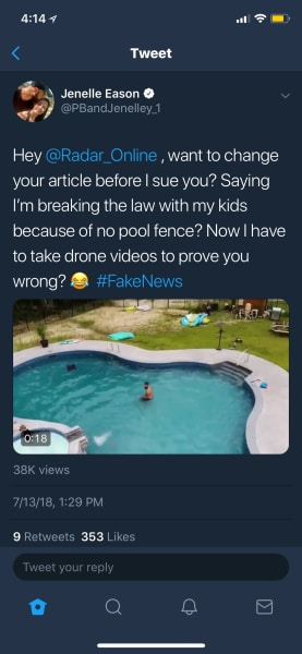 Jenelle Evans Pool Tweet