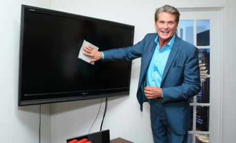David Hasselhoff Promotes Cleaning Products In New York